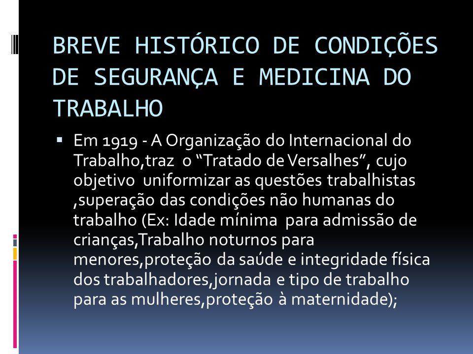 BREVE HISTÓRICO DE CONDIÇÕES DE SEGURANÇA E MEDICINA DO TRABALHO Em 1919 - A Organização do Internacional do Trabalho,traz o Tratado de Versalhes, cuj