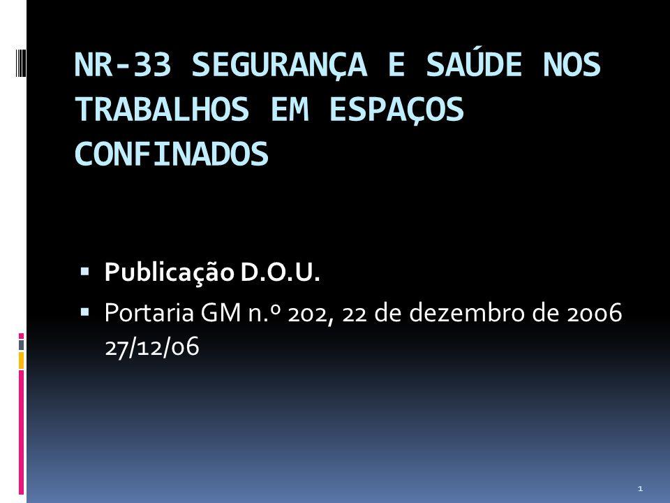 NR-33 SEGURANÇA E SAÚDE NOS TRABALHOS EM ESPAÇOS CONFINADOS Publicação D.O.U.