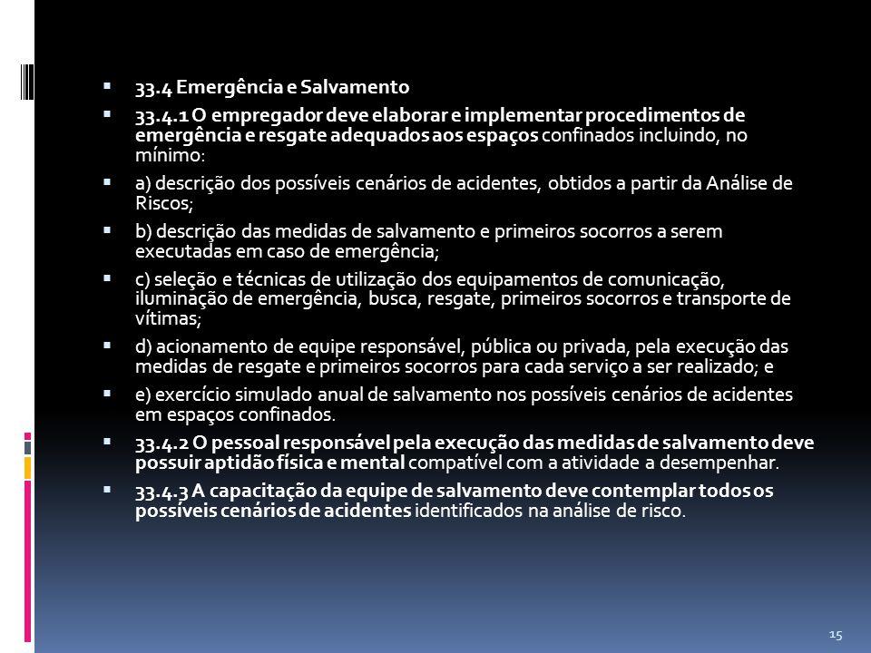 33.4 Emergência e Salvamento 33.4.1 O empregador deve elaborar e implementar procedimentos de emergência e resgate adequados aos espaços confinados incluindo, no mínimo: a) descrição dos possíveis cenários de acidentes, obtidos a partir da Análise de Riscos; b) descrição das medidas de salvamento e primeiros socorros a serem executadas em caso de emergência; c) seleção e técnicas de utilização dos equipamentos de comunicação, iluminação de emergência, busca, resgate, primeiros socorros e transporte de vítimas; d) acionamento de equipe responsável, pública ou privada, pela execução das medidas de resgate e primeiros socorros para cada serviço a ser realizado; e e) exercício simulado anual de salvamento nos possíveis cenários de acidentes em espaços confinados.