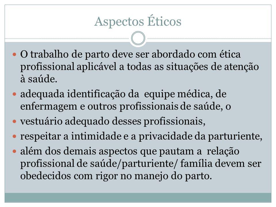Aspectos Éticos O trabalho de parto deve ser abordado com ética profissional aplicável a todas as situações de atenção à saúde.