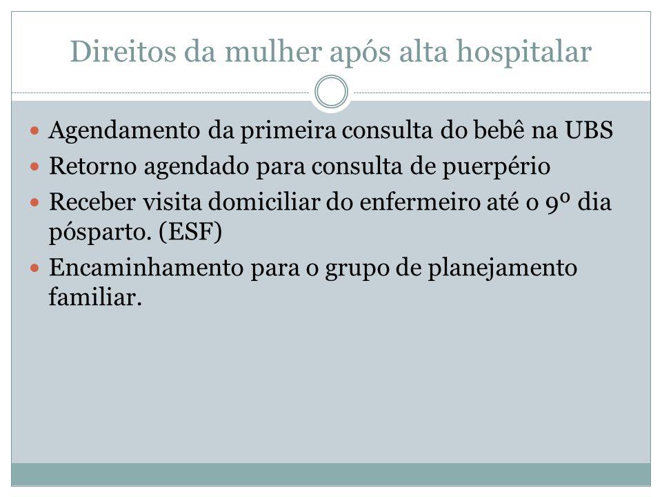 Direitos da mulher após alta hospitalar Agendamento da primeira consulta do bebê na UBS Retorno agendado para consulta de puerpério Receber visita domiciliar do enfermeiro até o 9º dia pósparto.