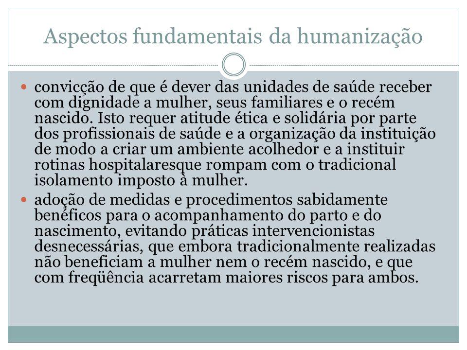 Aspectos fundamentais da humanização convicção de que é dever das unidades de saúde receber com dignidade a mulher, seus familiares e o recém nascido.