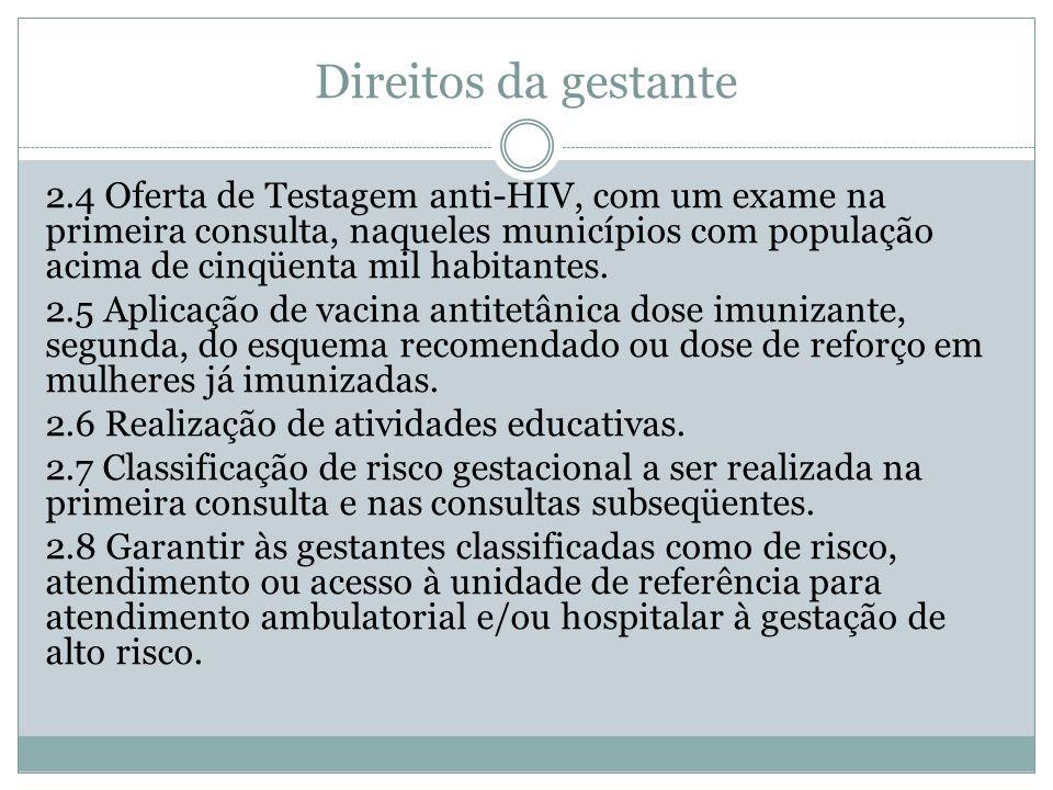 Direitos da gestante 2.4 Oferta de Testagem anti-HIV, com um exame na primeira consulta, naqueles municípios com população acima de cinqüenta mil habitantes.