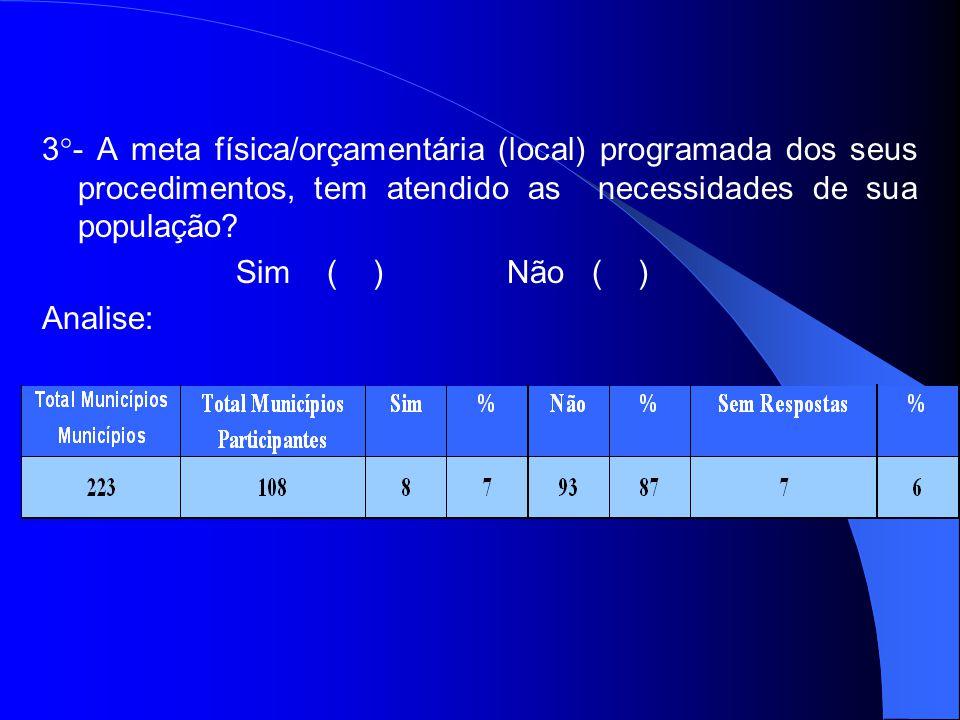 3°- A meta física/orçamentária (local) programada dos seus procedimentos, tem atendido as necessidades de sua população.