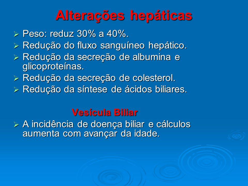 Alterações hepáticas Peso: reduz 30% a 40%. Peso: reduz 30% a 40%. Redução do fluxo sanguíneo hepático. Redução do fluxo sanguíneo hepático. Redução d