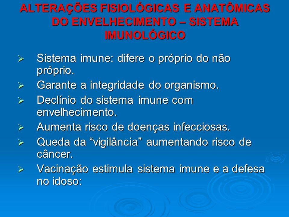 ALTERAÇÕES FISIOLÓGICAS E ANATÔMICAS DO ENVELHECIMENTO – SISTEMA IMUNOLÓGICO Sistema imune: difere o próprio do não próprio. Sistema imune: difere o p