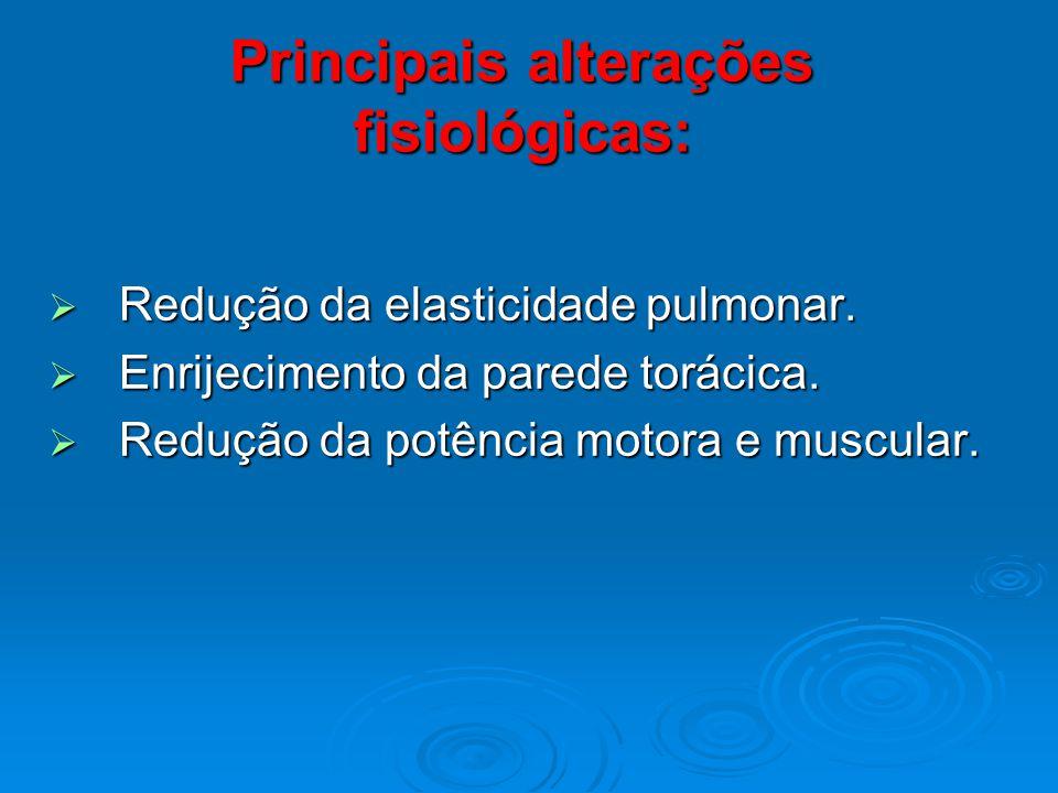Principais alterações fisiológicas: Redução da elasticidade pulmonar. Redução da elasticidade pulmonar. Enrijecimento da parede torácica. Enrijeciment