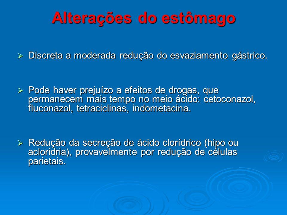 Alterações do estômago Discreta a moderada redução do esvaziamento gástrico. Discreta a moderada redução do esvaziamento gástrico. Pode haver prejuízo