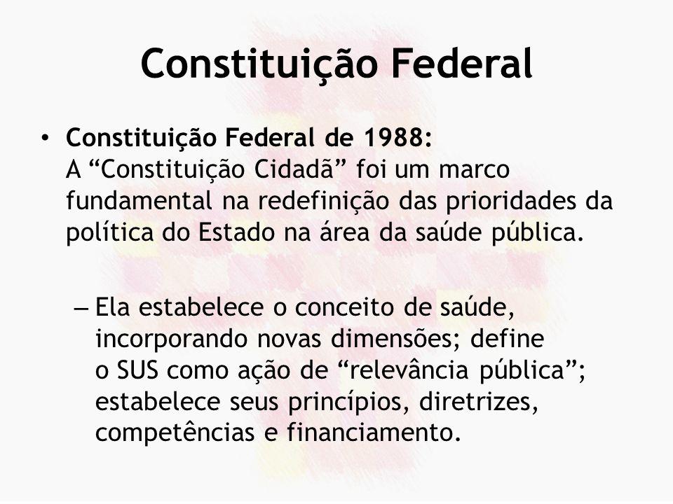 Leis Orgânicas da Saúde Lei nº 8.080 e Lei nº 8.142, de 1990: – Detalharam os princípios, diretrizes gerais e condições para organização e funcionamento do sistema.