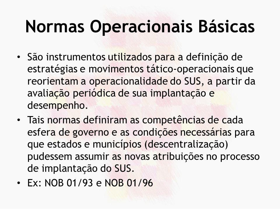 Normas Operacionais Básicas São instrumentos utilizados para a definição de estratégias e movimentos tático-operacionais que reorientam a operacionali