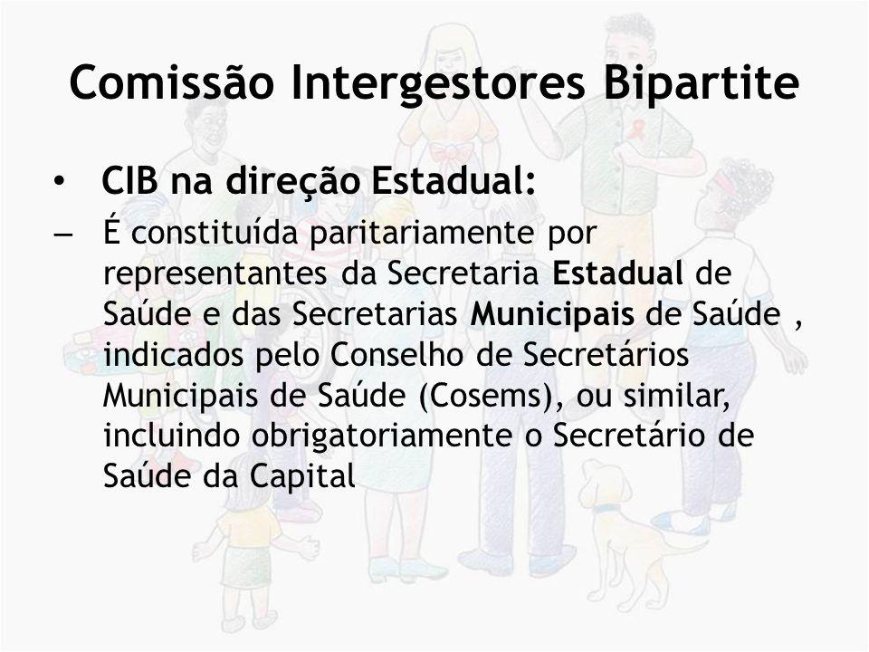 Comissão Intergestores Tripartite CIT na direção Nacional – É composta por representantes do Ministério da Saúde, do Conselho Nacional de Secretários de Saúde (CONASS) e do Conselho Nacional de Secretarias Municipais de Saúde (Conasems).