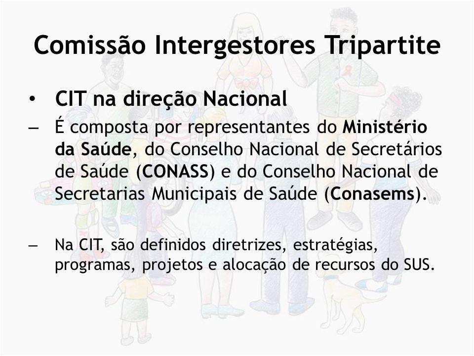Comissão Intergestores Tripartite CIT na direção Nacional – É composta por representantes do Ministério da Saúde, do Conselho Nacional de Secretários