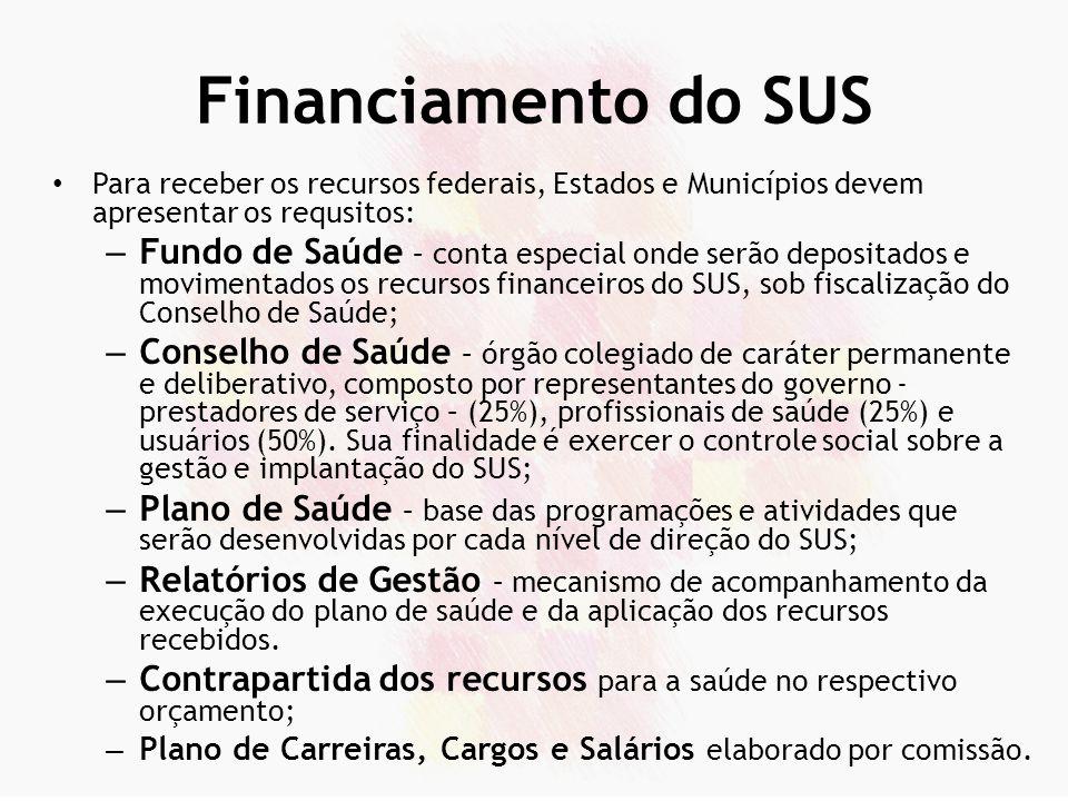 Financiamento do SUS Para receber os recursos federais, Estados e Municípios devem apresentar os requsitos: – Fundo de Saúde – conta especial onde ser