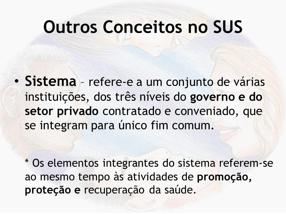 Outros Conceitos no SUS Unicidade – é a gestão única, por cada esfera de governo, do conjunto de elementos doutrinários e de organização do sistema de saúde.