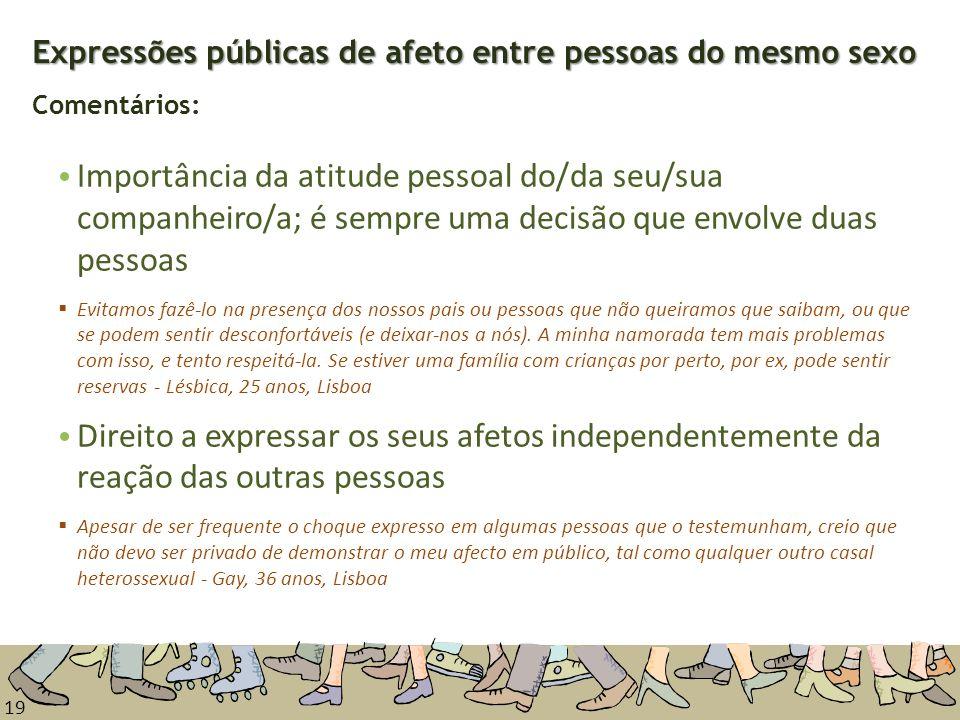 19 Expressões públicas de afeto entre pessoas do mesmo sexo Expressões públicas de afeto entre pessoas do mesmo sexo Comentários: Importância da atitu