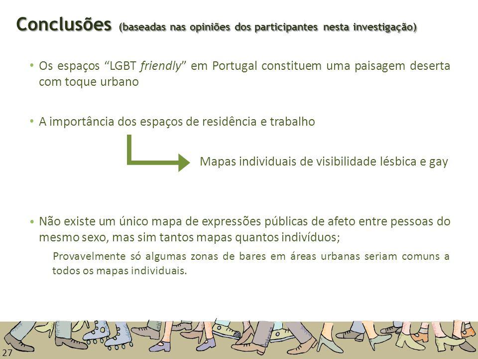 27 Os espaços LGBT friendly em Portugal constituem uma paisagem deserta com toque urbano A importância dos espaços de residência e trabalho Mapas indi