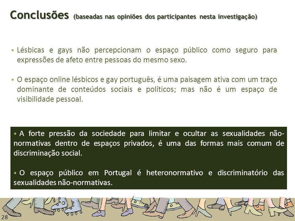 28 Conclusões (baseadas nas opiniões dos participantes nesta investigação) Lésbicas e gays não percepcionam o espaço público como seguro para expressõ