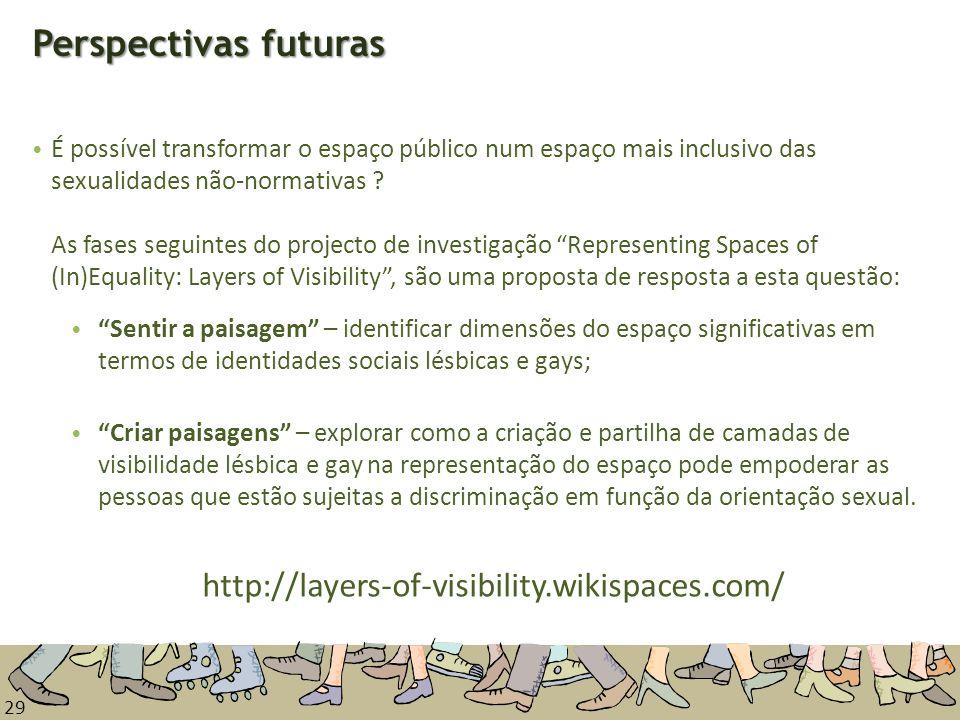 29 Perspectivas futuras É possível transformar o espaço público num espaço mais inclusivo das sexualidades não-normativas ? As fases seguintes do proj