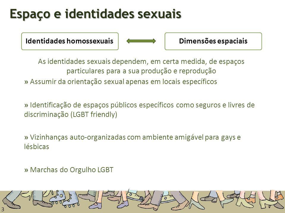 3 Espaço e identidades sexuais Dimensões espaciaisIdentidades homossexuais » Identificação de espaços públicos específicos como seguros e livres de di