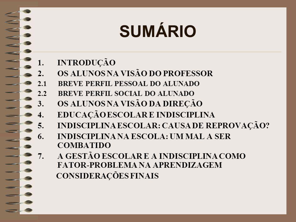 SUMÁRIO 1.INTRODUÇÃO 2.OS ALUNOS NA VISÃO DO PROFESSOR 2.1 BREVE PERFIL PESSOAL DO ALUNADO 2.2 BREVE PERFIL SOCIAL DO ALUNADO 3.OS ALUNOS NA VISÃO DA DIREÇÃO 4.EDUCAÇÃO ESCOLAR E INDISCIPLINA 5.INDISCIPLINA ESCOLAR: CAUSA DE REPROVAÇÃO.