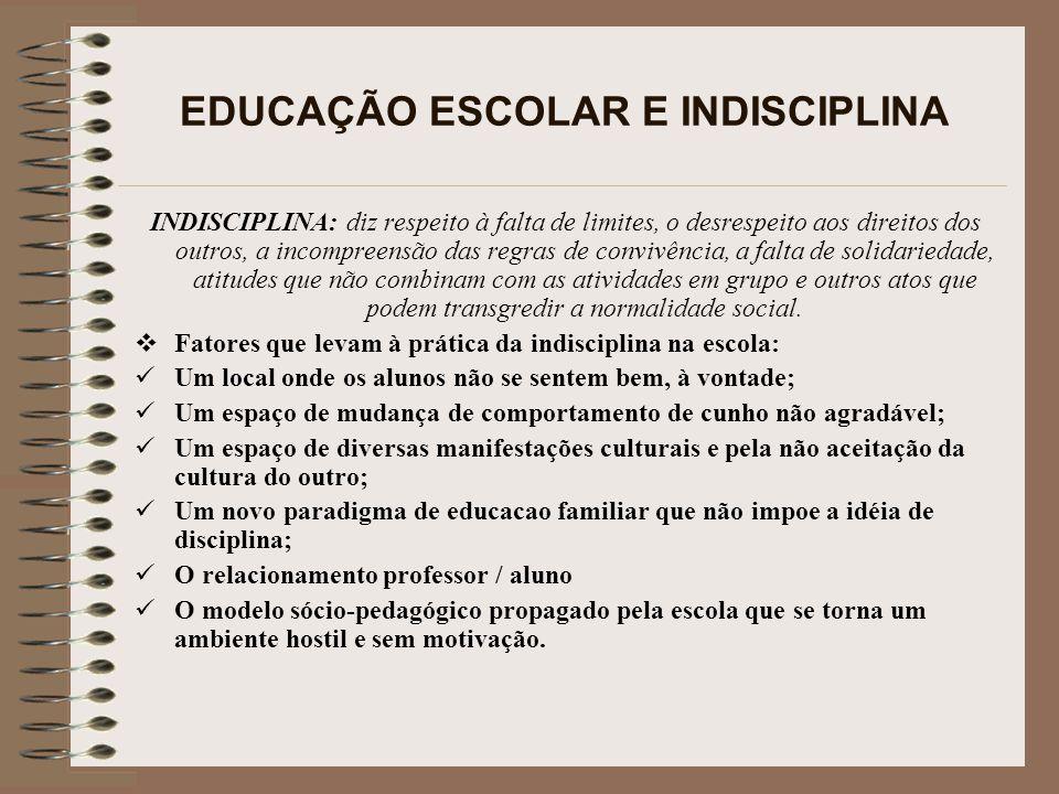 A INDISCIPLINA ESCOLAR PODE SER CAUSA DE REPROVAÇÃO.
