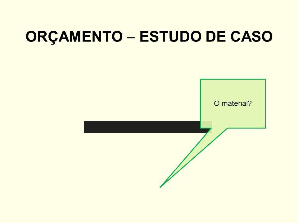 ORÇAMENTO – ESTUDO DE CASO O material?