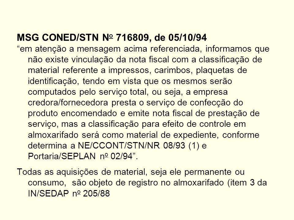 MSG CONED/STN N o 716809, de 05/10/94 em atenção a mensagem acima referenciada, informamos que não existe vinculação da nota fiscal com a classificação de material referente a impressos, carimbos, plaquetas de identificação, tendo em vista que os mesmos serão computados pelo serviço total, ou seja, a empresa credora/fornecedora presta o serviço de confecção do produto encomendado e emite nota fiscal de prestação de serviço, mas a classificação para efeito de controle em almoxarifado será como material de expediente, conforme determina a NE/CCONT/STN/NR 08/93 (1) e Portaria/SEPLAN n o 02/94.