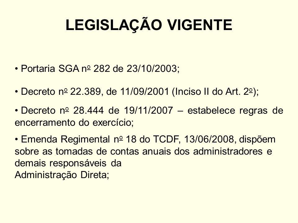 LEGISLAÇÃO VIGENTE Portaria SGA n o 282 de 23/10/2003; Decreto n o 22.389, de 11/09/2001 (Inciso II do Art.