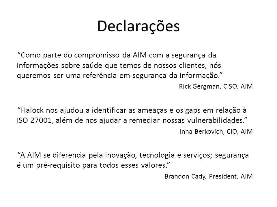 Declarações Como parte do compromisso da AIM com a segurança da informações sobre saúde que temos de nossos clientes, nós queremos ser uma referência