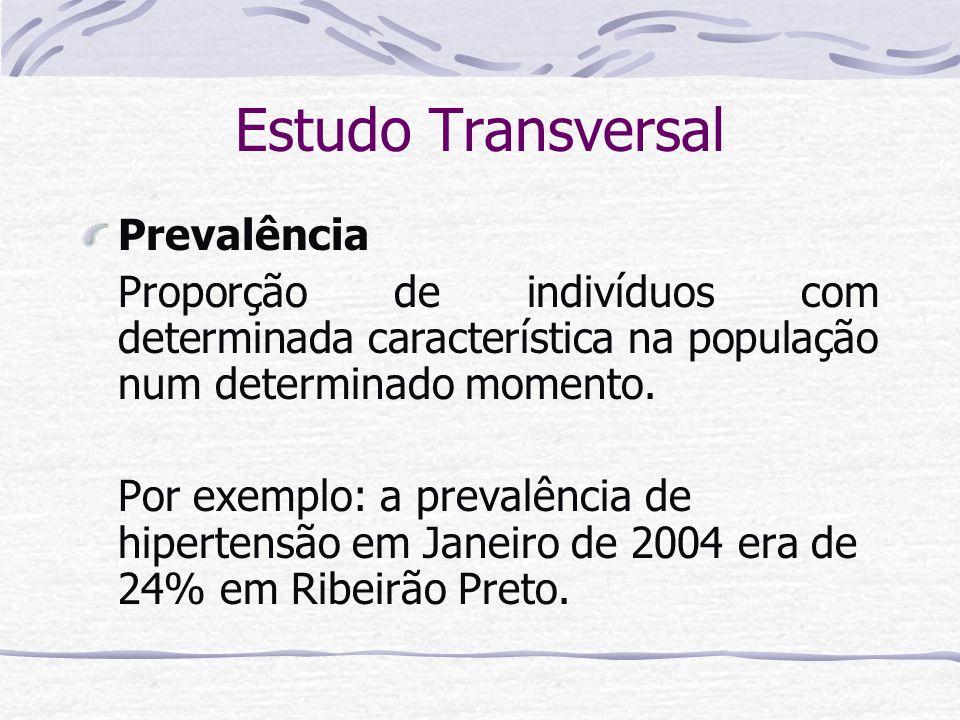 Estudo Transversal Prevalência Proporção de indivíduos com determinada característica na população num determinado momento.