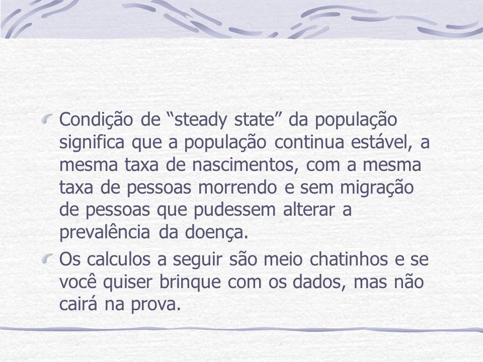 Condição de steady state da população significa que a população continua estável, a mesma taxa de nascimentos, com a mesma taxa de pessoas morrendo e sem migração de pessoas que pudessem alterar a prevalência da doença.