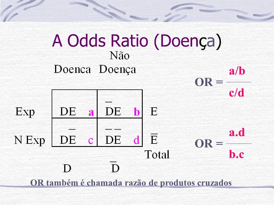 A Odds Ratio (Doença) a.d b.c OR = OR também é chamada razão de produtos cruzados a/b c/d OR =