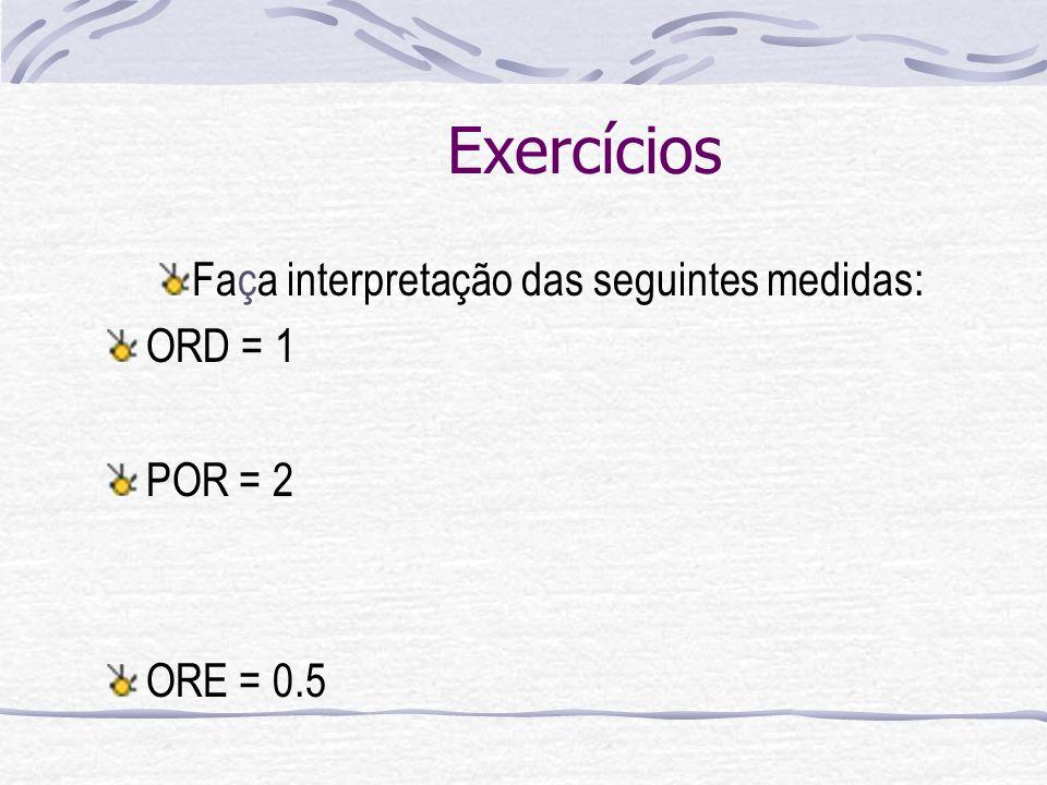 Exercícios Faça interpretação das seguintes medidas: ORD = 1 POR = 2 ORE = 0.5