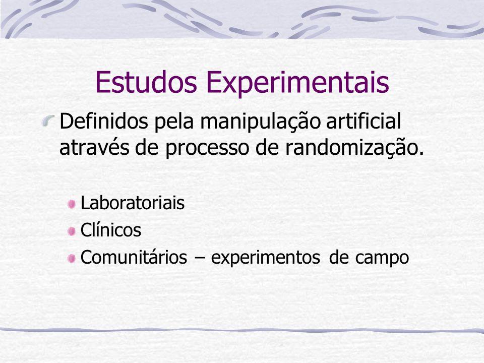Estudos Experimentais Definidos pela manipulação artificial através de processo de randomização.