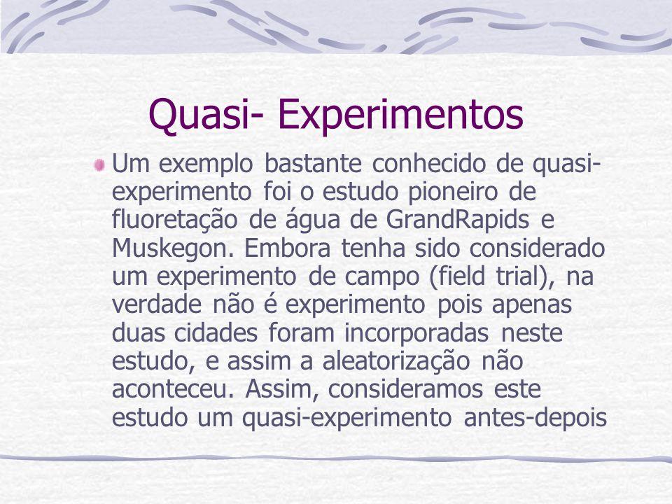 Quasi- Experimentos Um exemplo bastante conhecido de quasi- experimento foi o estudo pioneiro de fluoretação de água de GrandRapids e Muskegon.