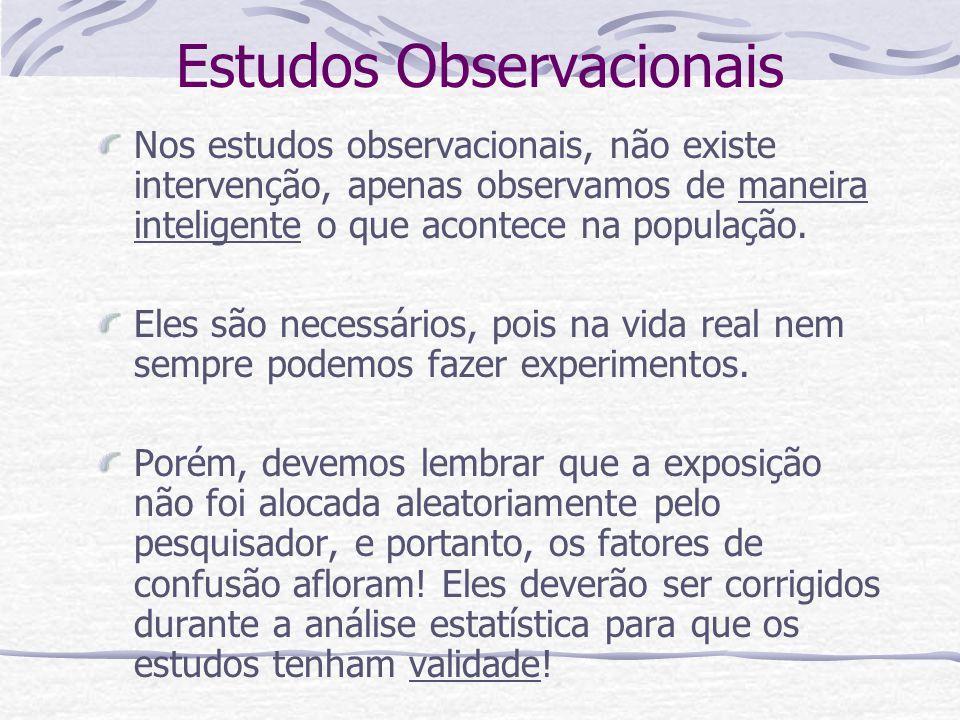 Estudos Observacionais Nos estudos observacionais, não existe intervenção, apenas observamos de maneira inteligente o que acontece na população.