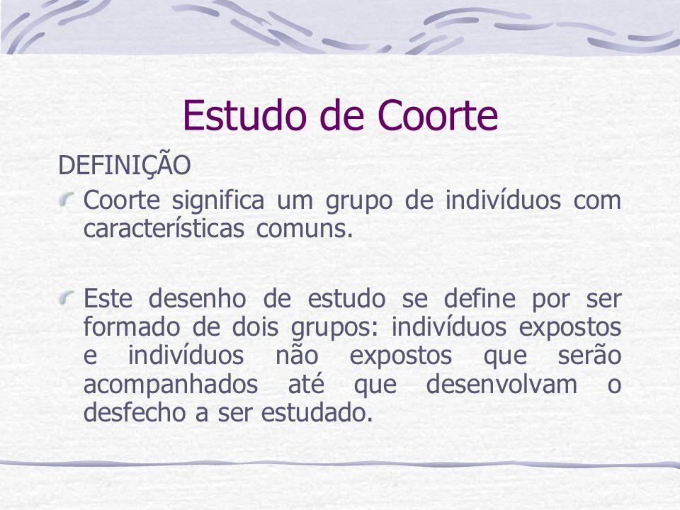 Estudo de Coorte DEFINIÇÃO Coorte significa um grupo de indivíduos com características comuns.