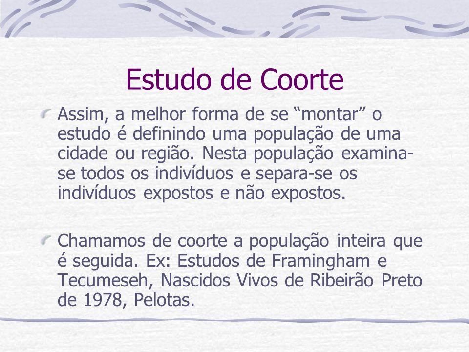 Estudo de Coorte Assim, a melhor forma de se montar o estudo é definindo uma população de uma cidade ou região.