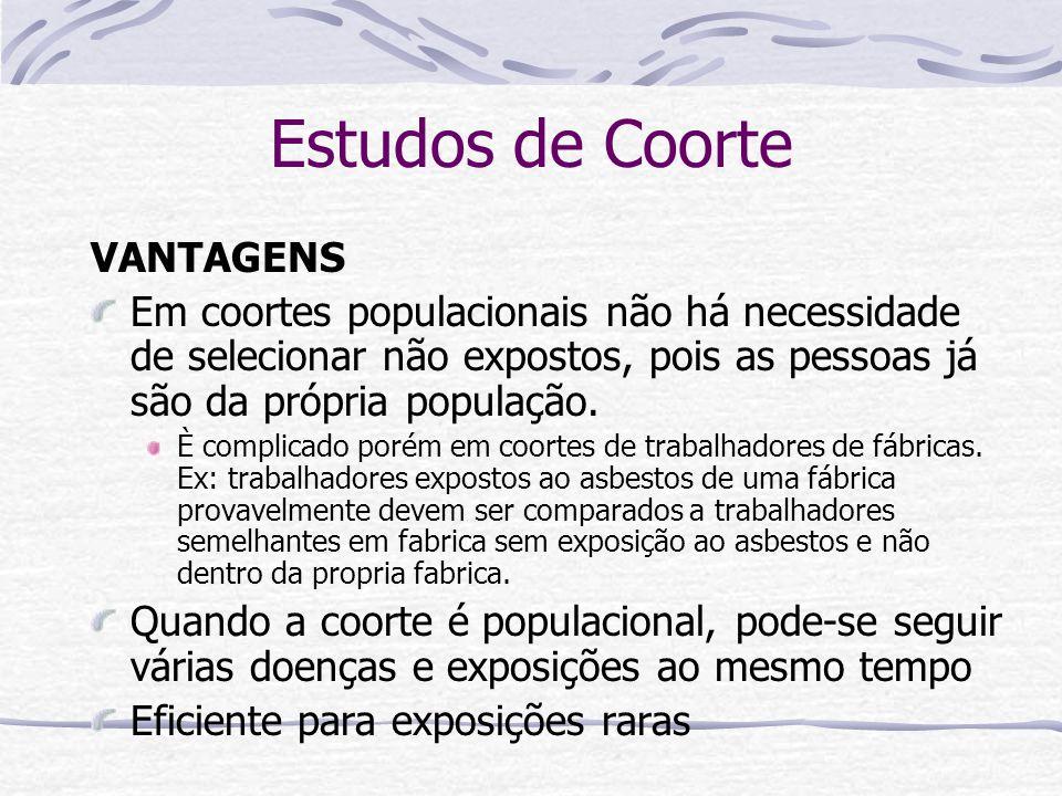 Estudos de Coorte VANTAGENS Em coortes populacionais não há necessidade de selecionar não expostos, pois as pessoas já são da própria população.