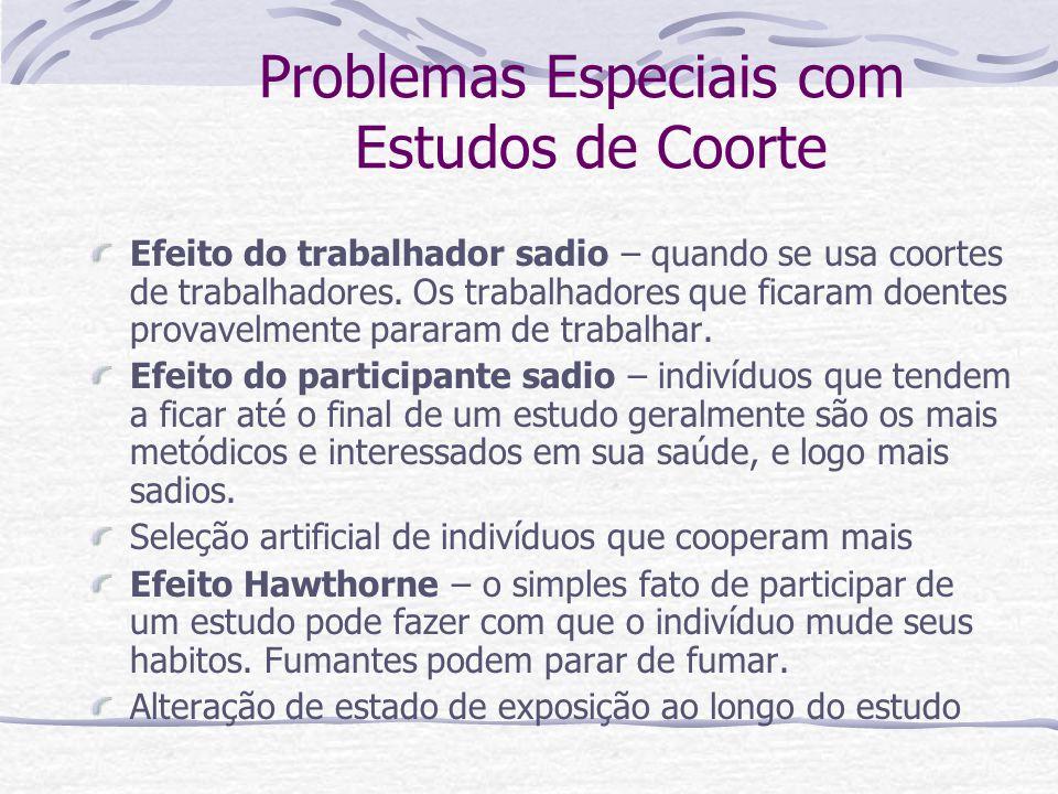 Problemas Especiais com Estudos de Coorte Efeito do trabalhador sadio – quando se usa coortes de trabalhadores.