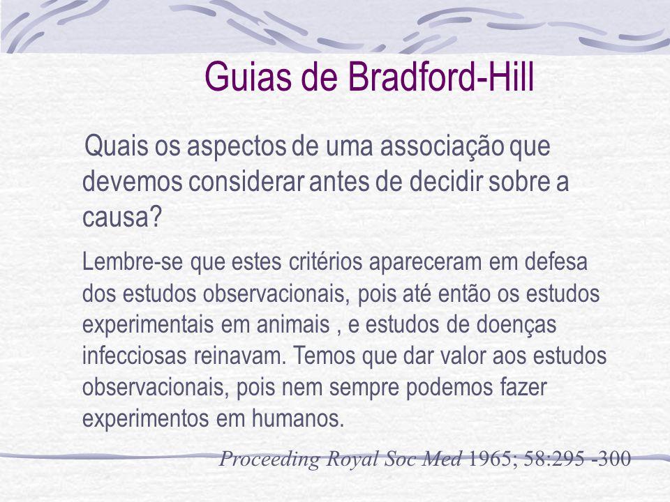 Guias de Bradford-Hill Quais os aspectos de uma associação que devemos considerar antes de decidir sobre a causa.