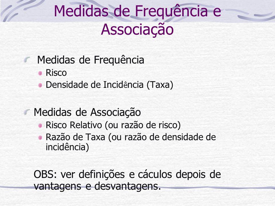 Medidas de Frequência e Associação Medidas de Frequência Risco Densidade de Incid ê ncia (Taxa) Medidas de Associação Risco Relativo (ou razão de risco) Razão de Taxa (ou razão de densidade de incidência) OBS: ver definições e cáculos depois de vantagens e desvantagens.