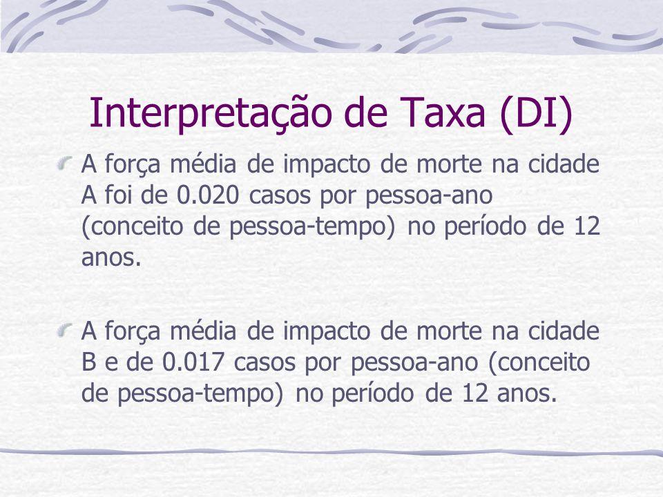 Interpretação de Taxa (DI) A força média de impacto de morte na cidade A foi de 0.020 casos por pessoa-ano (conceito de pessoa-tempo) no período de 12 anos.