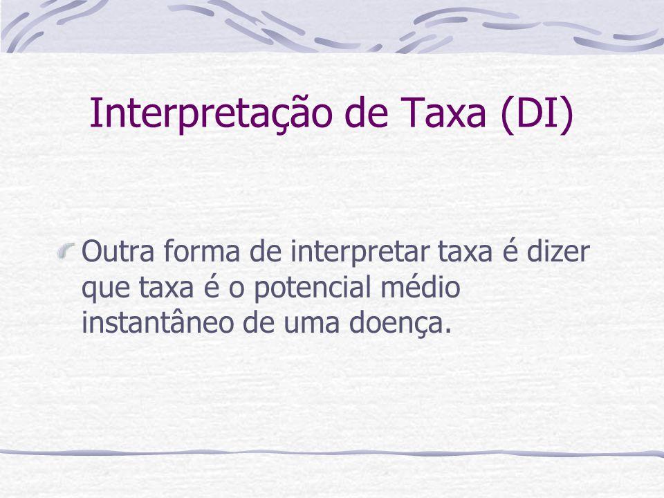 Interpretação de Taxa (DI) Outra forma de interpretar taxa é dizer que taxa é o potencial médio instantâneo de uma doença.