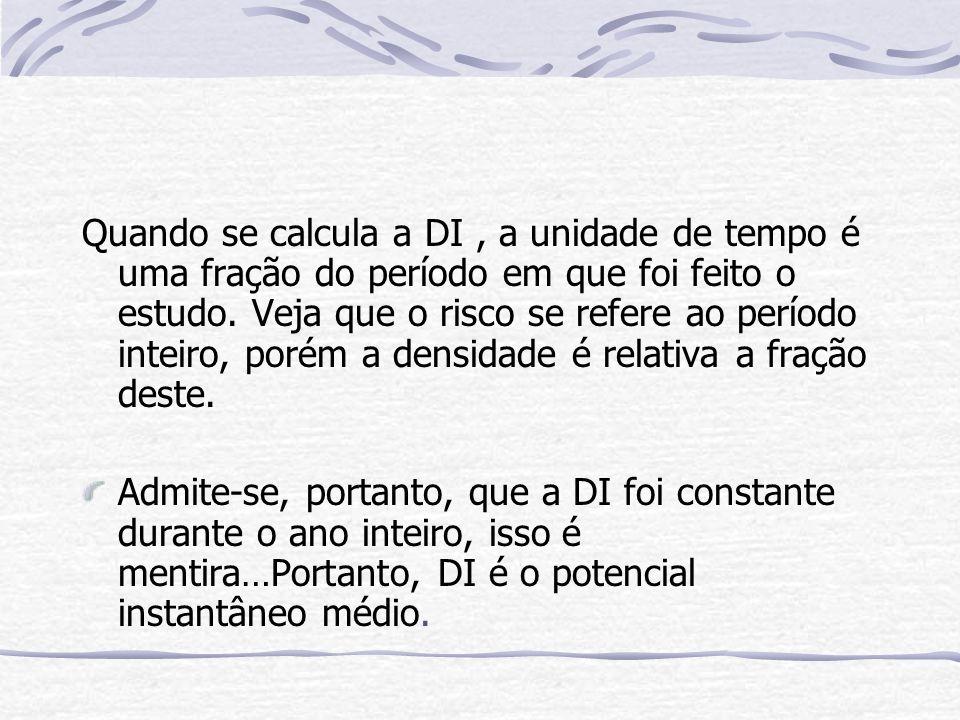 Quando se calcula a DI, a unidade de tempo é uma fração do período em que foi feito o estudo.