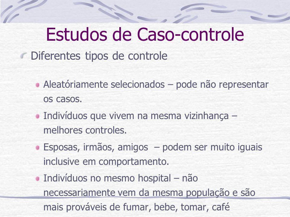 Estudos de Caso-controle Diferentes tipos de controle Aleatóriamente selecionados – pode não representar os casos.