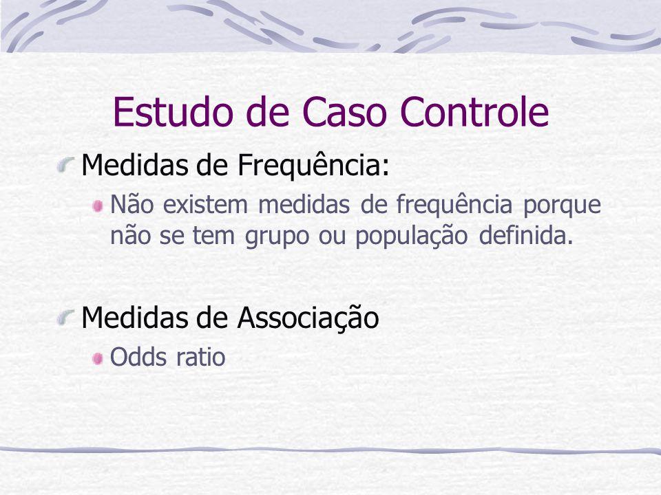 Estudo de Caso Controle Medidas de Frequência: Não existem medidas de frequência porque não se tem grupo ou população definida.