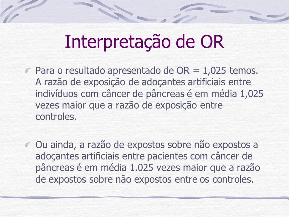 Interpretação de OR Para o resultado apresentado de OR = 1,025 temos.