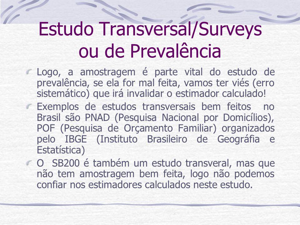 Estudo Transversal/Surveys ou de Prevalência Logo, a amostragem é parte vital do estudo de prevalência, se ela for mal feita, vamos ter viés (erro sistemático) que irá invalidar o estimador calculado.
