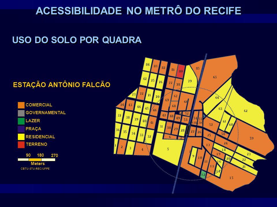ESTAÇÃO ANTÔNIO FALCÃO COMERCIAL GOVERNAMENTAL LAZER PRAÇA RESIDENCIAL TERRENO 90180 270 Meters CBTU-STU-REC/UFPE USO DO SOLO POR QUADRA ACESSIBILIDAD